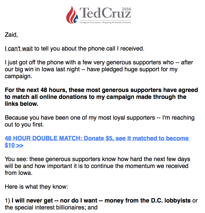 cruzs promise to match donations could break rules