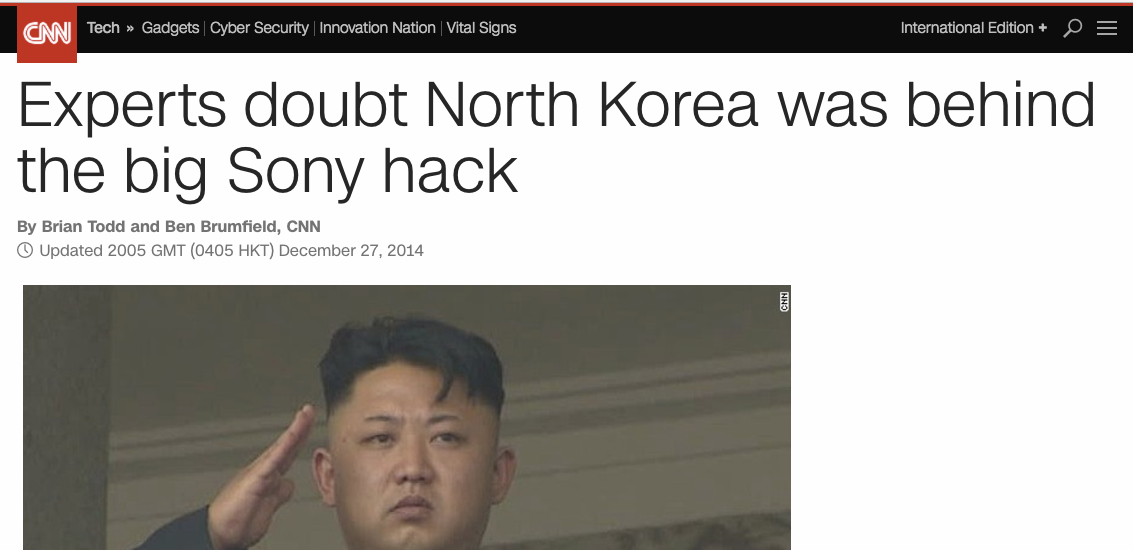 Image result for bogus north korea sony hack evidence