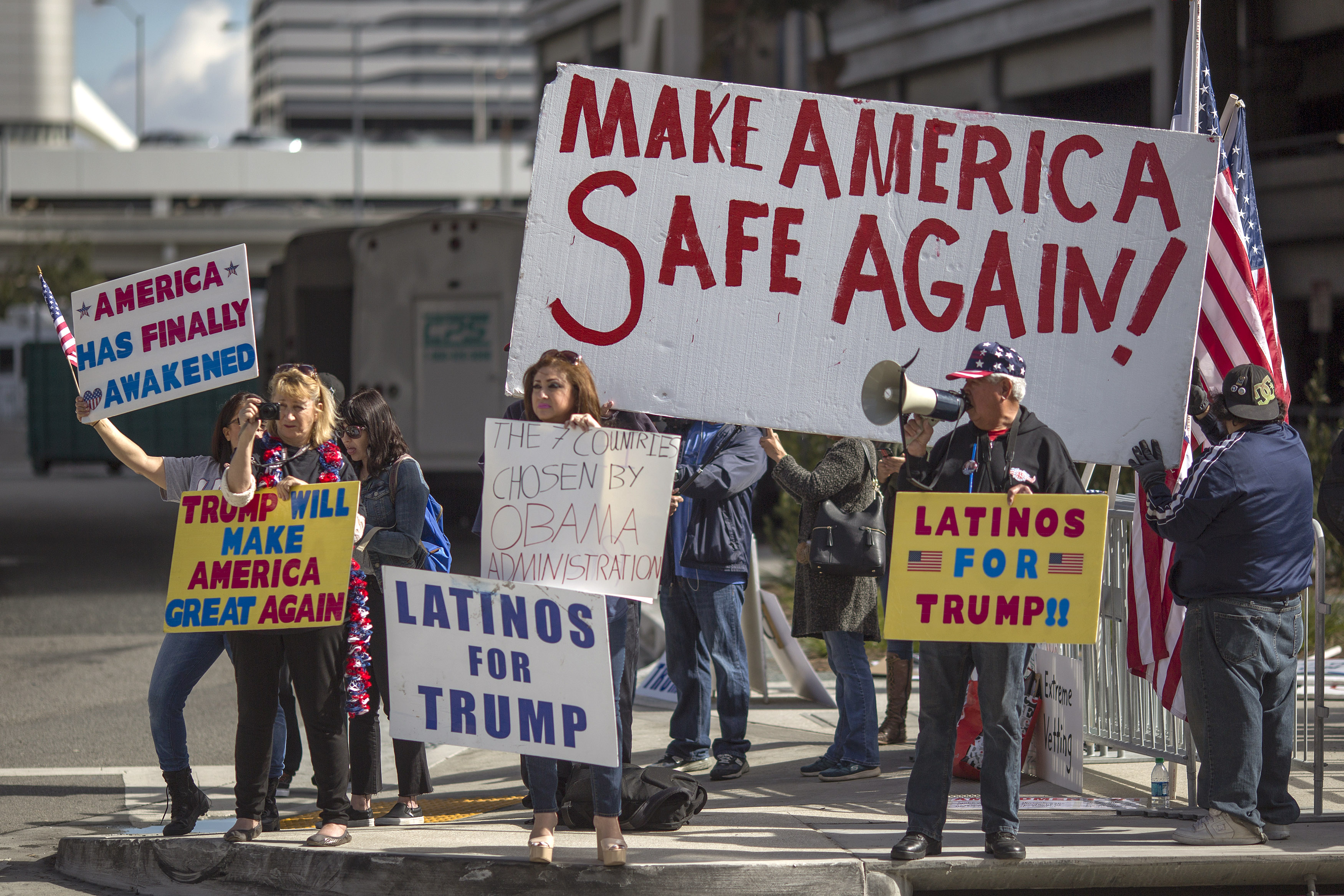 Los Angeles, Ca  February 04: Trump Supporters Demonstrate Against A  Ruling By A