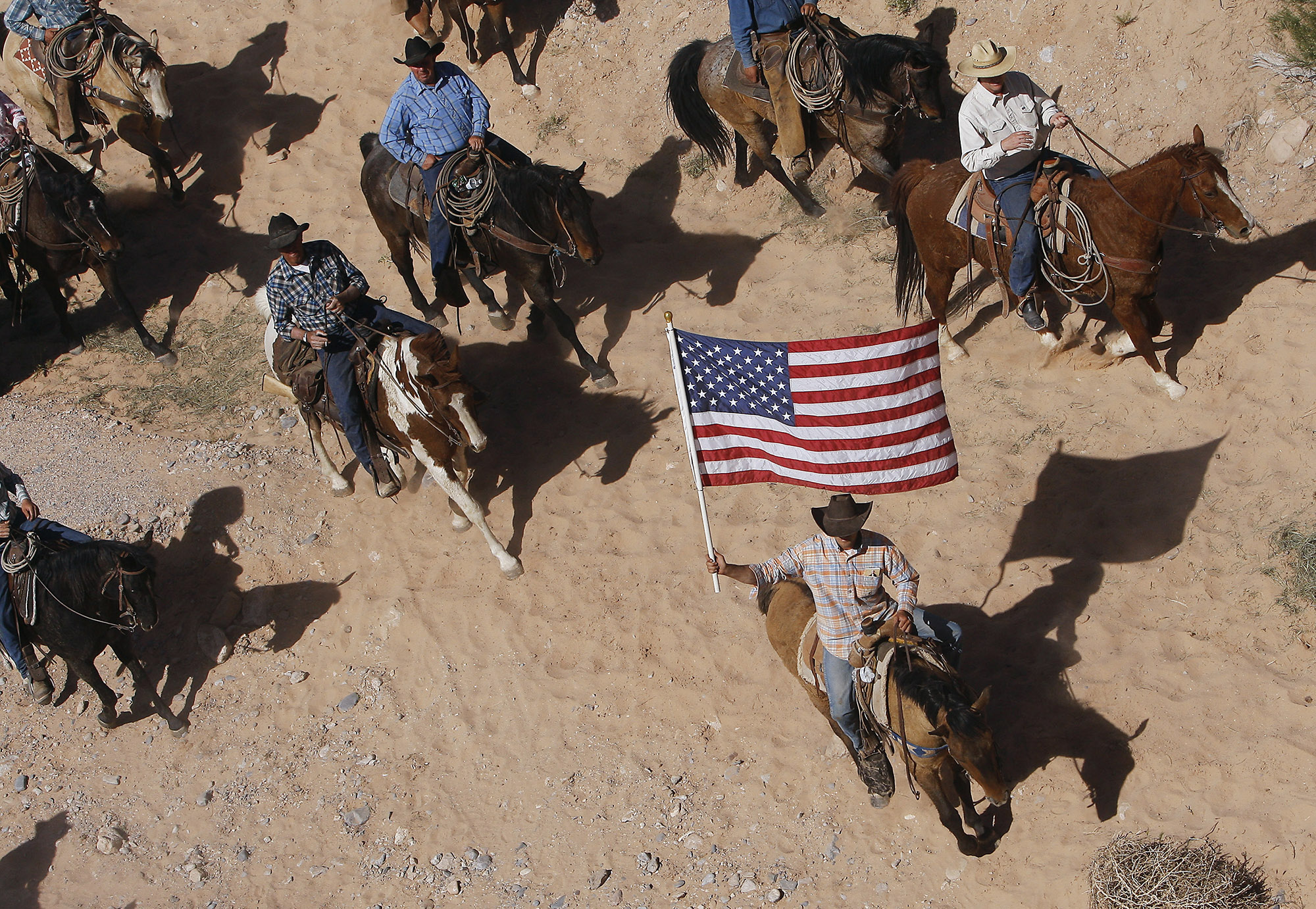 FILE - In this April 12, 2014, file photo, the Bundy family and