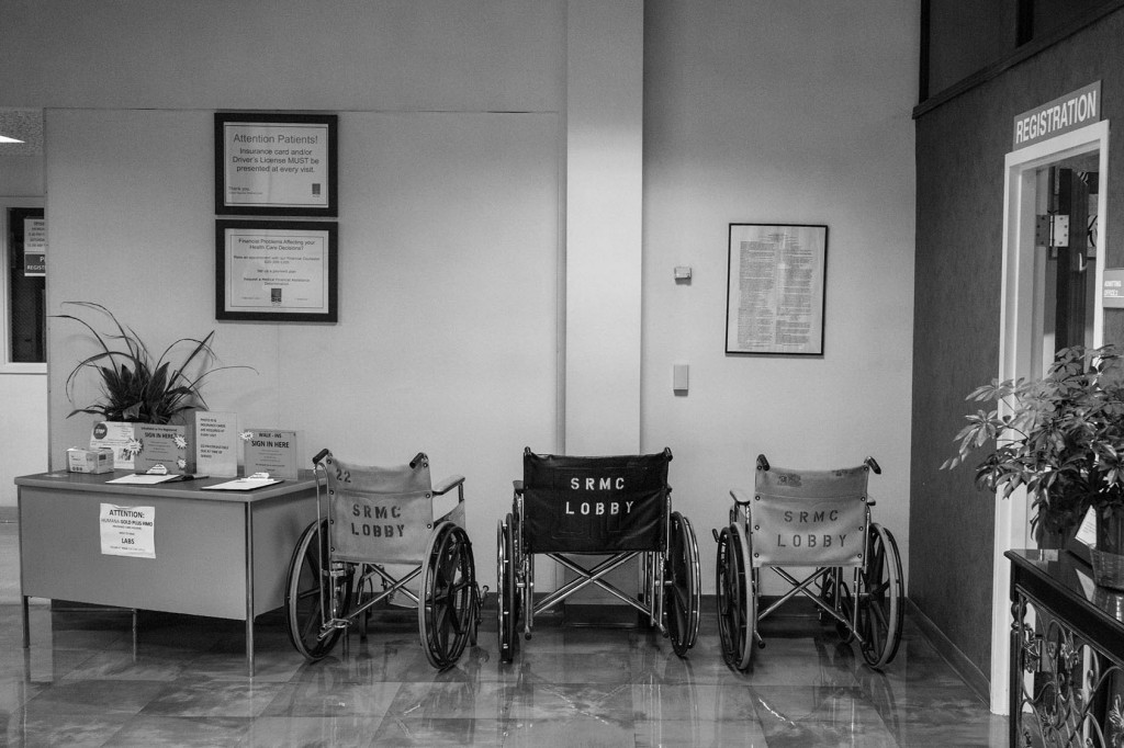 Wheelchairs in the lobby of Sumner Regional Medical Center. For the past few years, this hospital has struggled to remain open. The city has instilled  a half-cent sales tax whose proceeds go directly to the hospital to help it stay open. Wellington, KS. July 20, 2017.