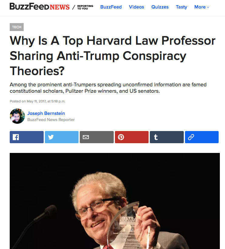 Laurence Tribe, Russia Conspiracist, Has His Most