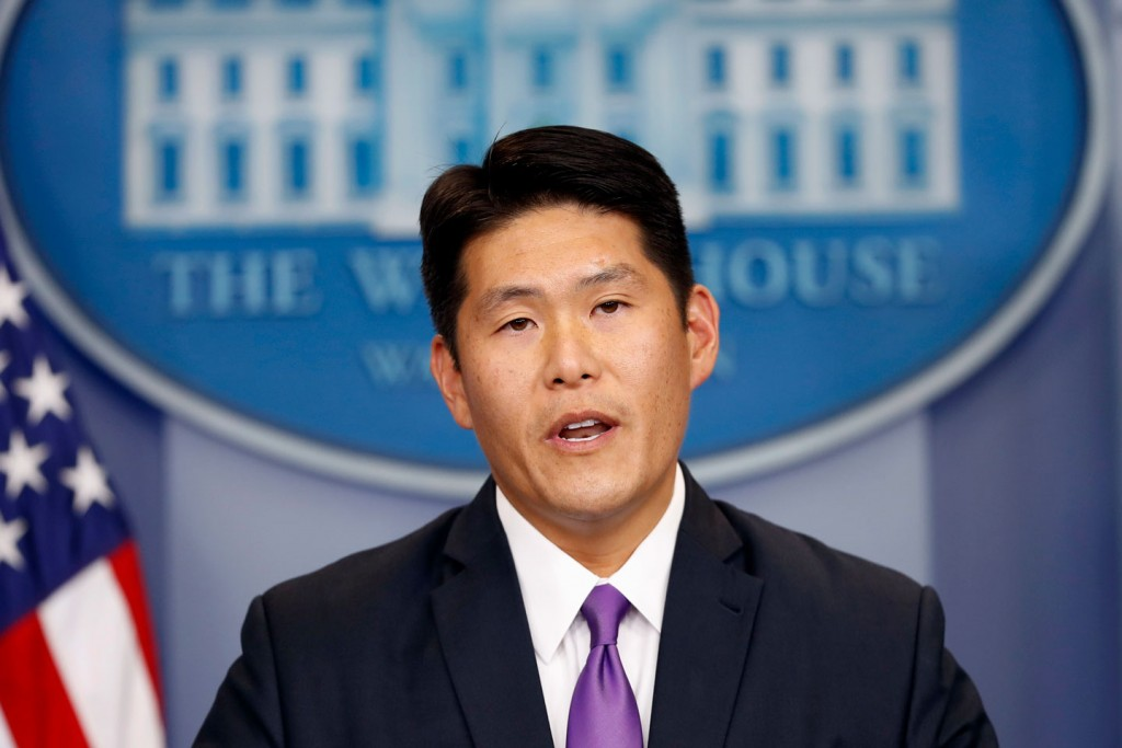 Principal Associate Deputy Attorney General Robert K Hur speaks during a press briefing at the White House in Washington, Thursday, July 27, 2017. (AP Photo/Alex Brandon)