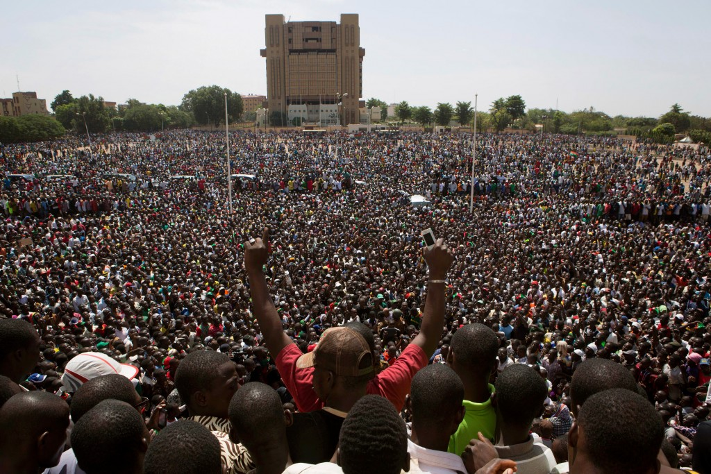 Anti-government protesters gather in the Place de la Nation in Ouagadougou