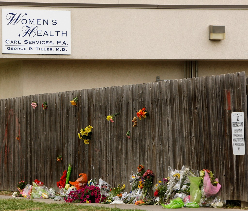 A memorial is seen outside Women's Health Care Services in Wichita, Kan., Tuesday, June 2, 2009. The clinic was owned by Dr. George Tiller who was gunned down during church services Sunday. (AP Photo/Charlie Riedel)