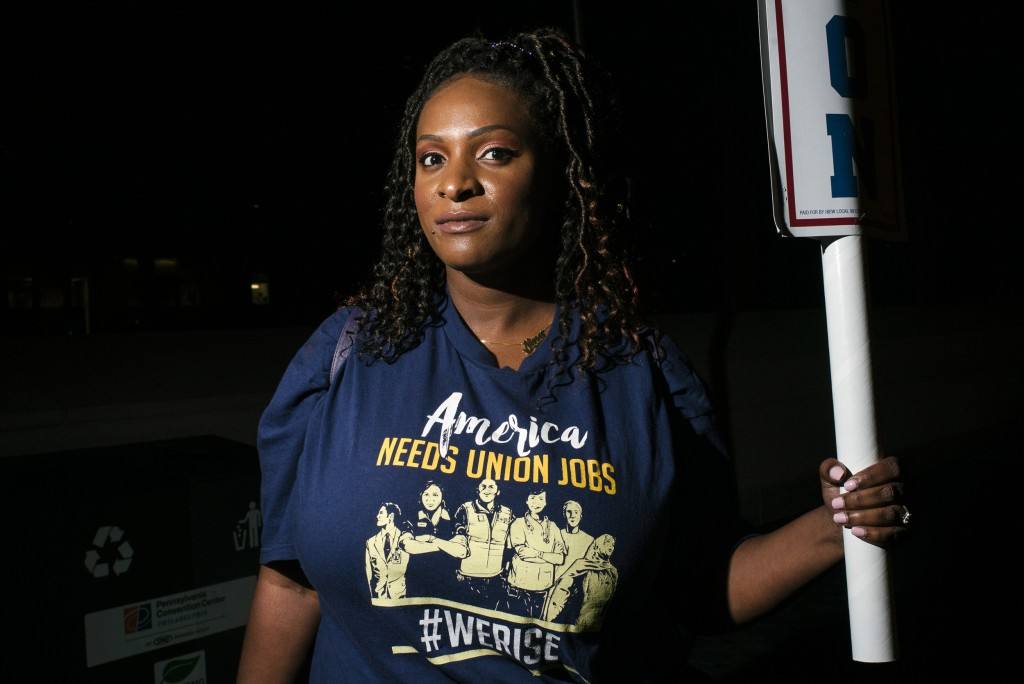 Service Employees International Union (SEIU) member Nina Coffey stands for a portrait at the Workers' Presidential Summit in Philadelphia, PA on Tuesday, September 17, 2019. The primary focus was on how the presidential candidates would support unions and their workers.Hannah Yoon for The Intercept