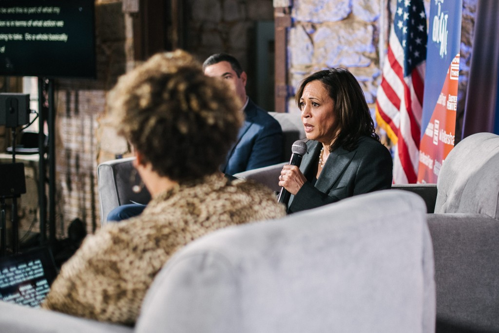 Democratic presidential candidate Kamala Harris speaks to the crowd during a presidential town hall moderated by formerly incarcerated people at the Eastern State Penitentiary in Philadelphia, PA. on Monday, October 28, 2019. Harris was one of three presidential candidates that showed up to the town hall.Hannah Yoon for The Intercept