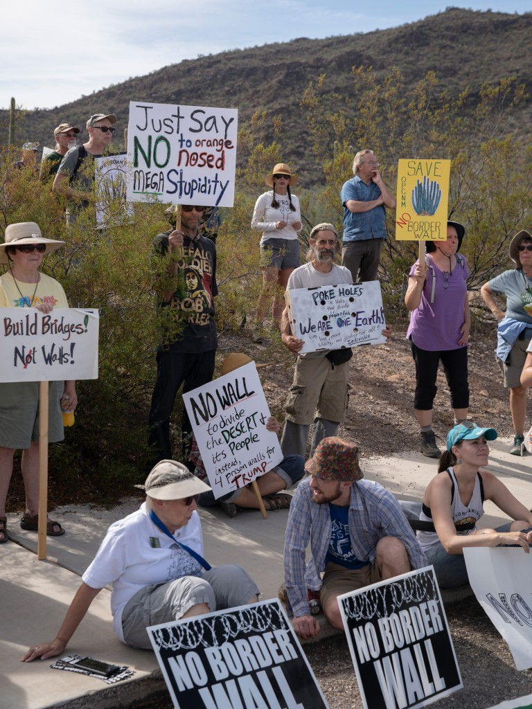 Protestors gather by the Organ Pipe Cactus National Monument visitor's center on November 9, 2019 during a day of actions protesting the building of the U.S. - Mexico border wall. The area is sacred to the Hia-Ced O'odham and the Tohono O'odham nations.Photo by Kitra Cahana/MAPS for The Intercept