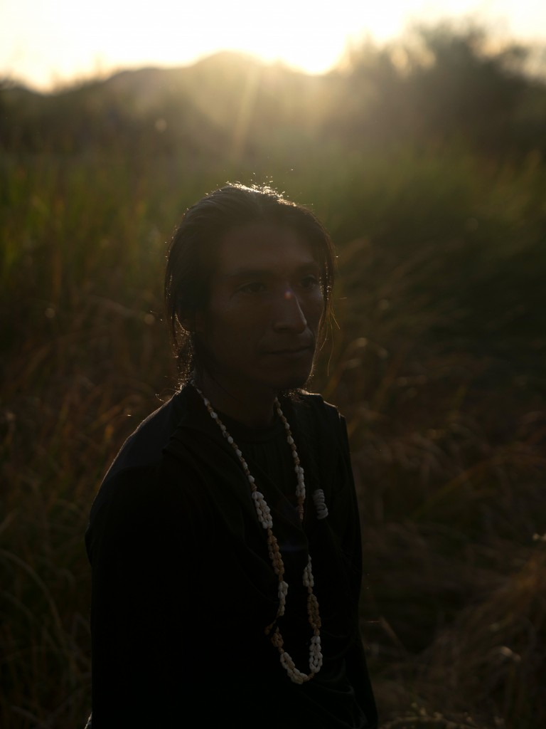 Victor Garcia, 28, a Hia-Ced O'odham and Tohono O'odham activist poses for a portrait by the Quitobaquito Springs in the Organ Pipe Cactus National Monument on November 9, 2019 during a day of actions protesting the building of the U.S. - Mexico border wall in the area. The area is sacred to the Hia-Ced O'odham and the Tohono O'odham nations.Photo by Kitra Cahana/MAPS for The Intercept