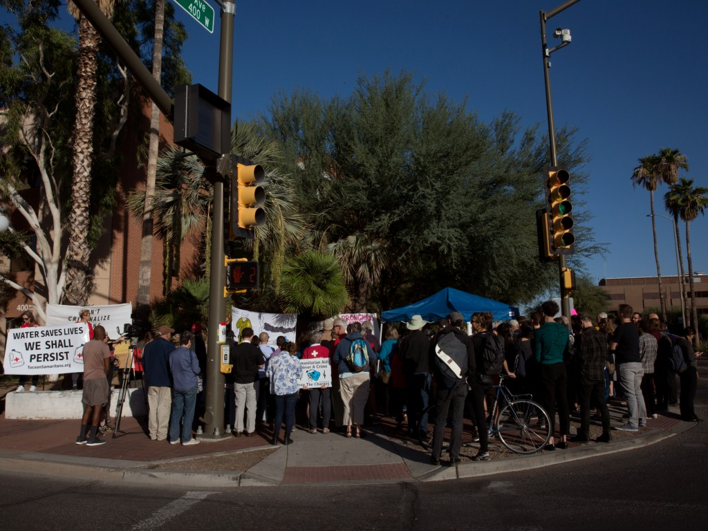 Supporters gather outside the Tucson Federal Courthouse on the first day of Scott Warren's retrial.