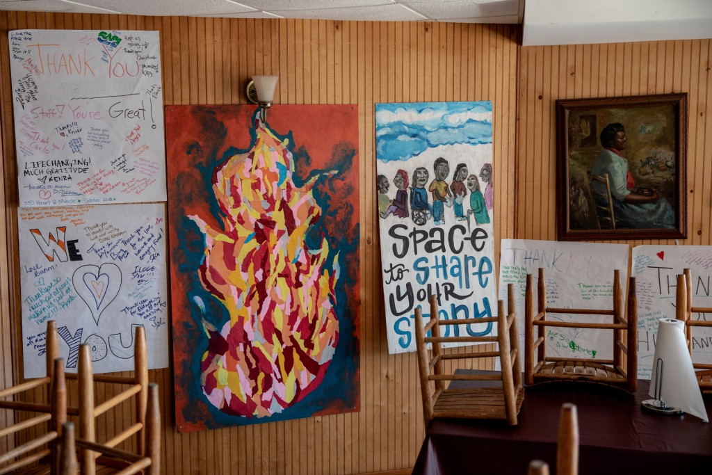 November 18, 2019 - New Market , TN: Art created by folks who have come through the center hangs in the kitchen of the Highlander Research and Education Center on a quiet Sunday.