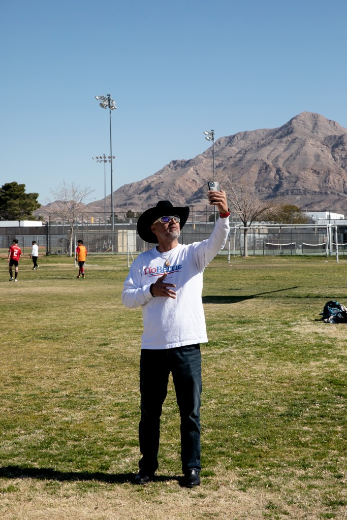 Bernie Sanders supporters gather at the Eldorado Highschool soccer fields in Las Vegas, Nevada for the Unidos Con Soccer Tournament on Feb 17, 2020. Krystal Ramirez for The Intercept