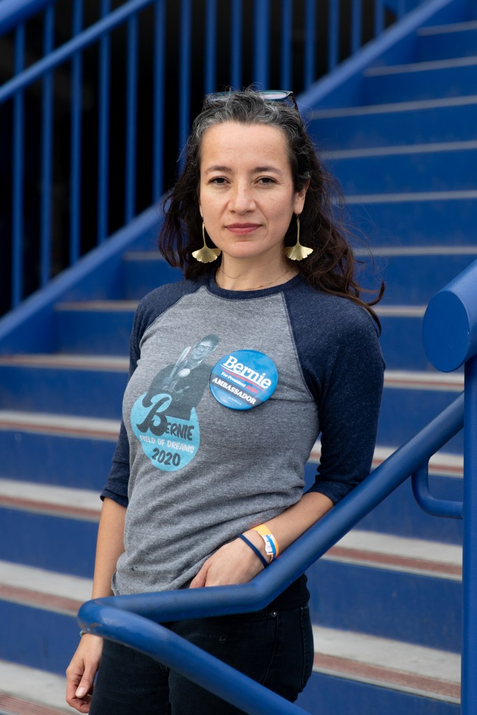 Ana Maria Archila, ambassador and translator for the Bernie Sanders campaign at Desert Pines High school in Las Vegas, Nevada on Feb. 22, 2020.