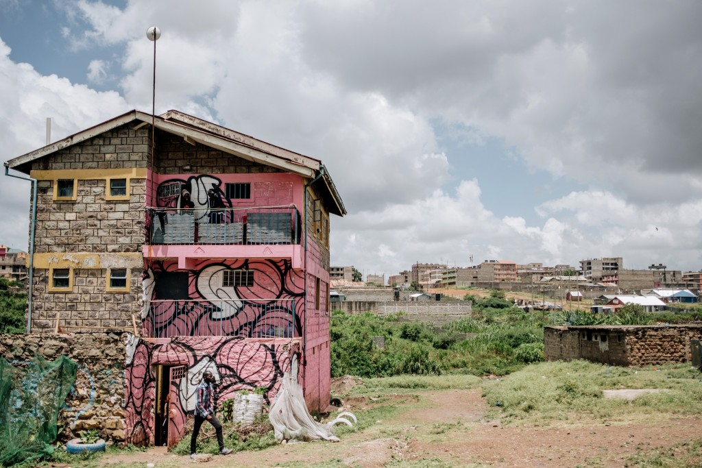 Dandora Hip Hop City sits at the edge of the Dandora Municipal Dump Site in Nairobi, Kenya. The youth-focused community-based organization serves as an an arts, technology and entrepreneurship space that combats unemployment in the area. Feb. 15, 2020. (Khadija Farah for The Intercept).