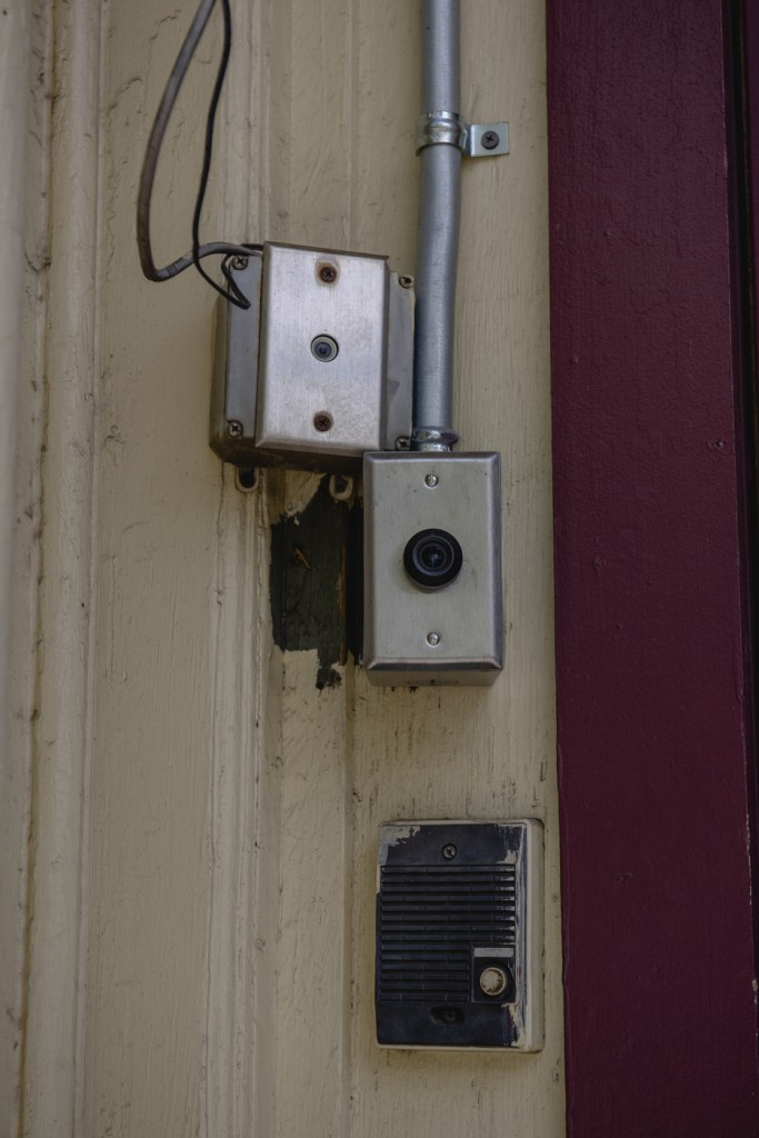 A security camera system is in place outside of the administration and intake building of the Horizon House's rehabilitation home in Albany, May 16 2020.