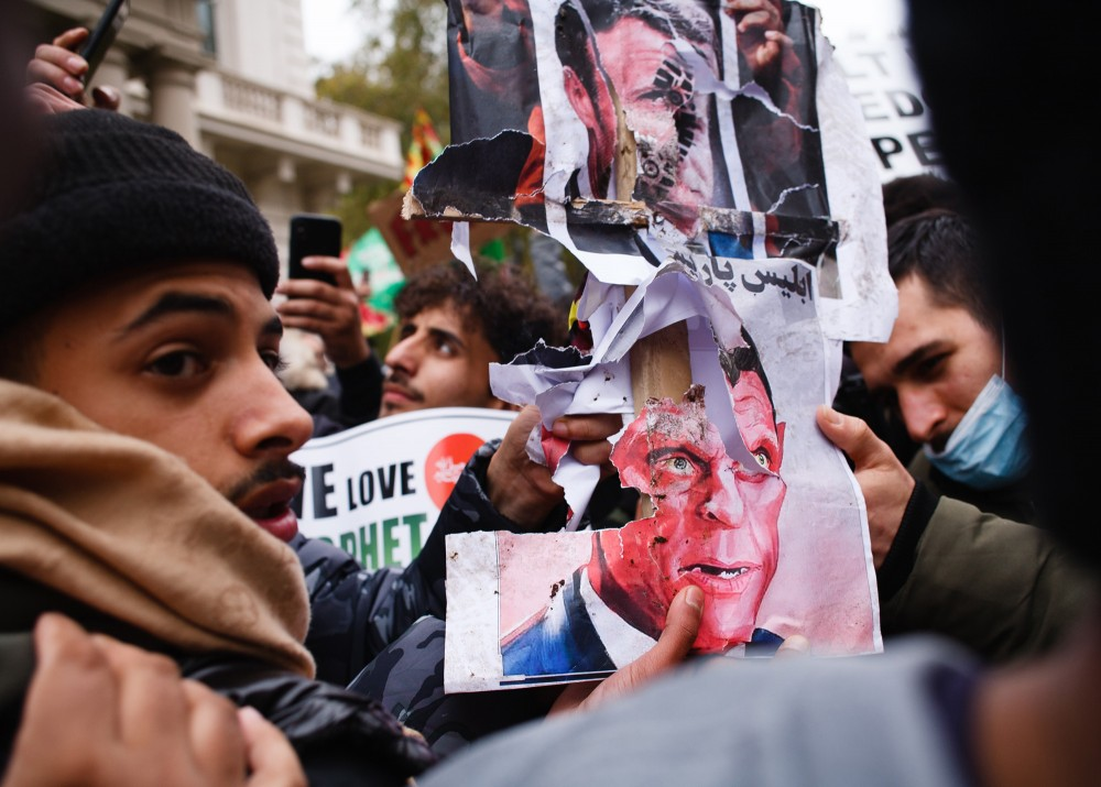 Demonstration Of Muslim Outside French Embassy In London
