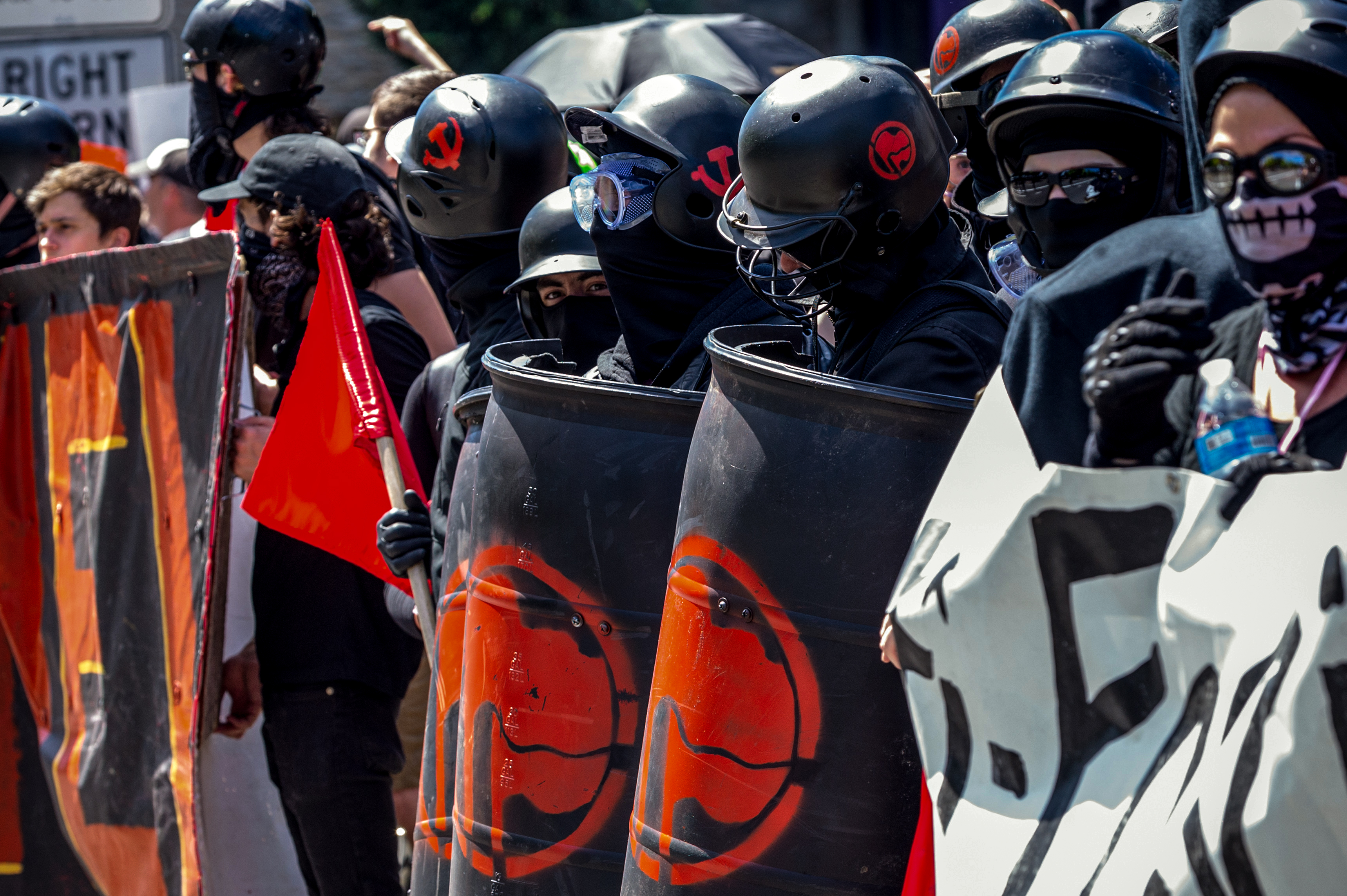 PORTLAND, OR - AUGUST 4: Members of the Antifa at the Patriot Prayer Rally in downtown Portland, OR, on August 4, 2018. (Photo by Diego Diaz/Icon Sportswire via Getty Images).