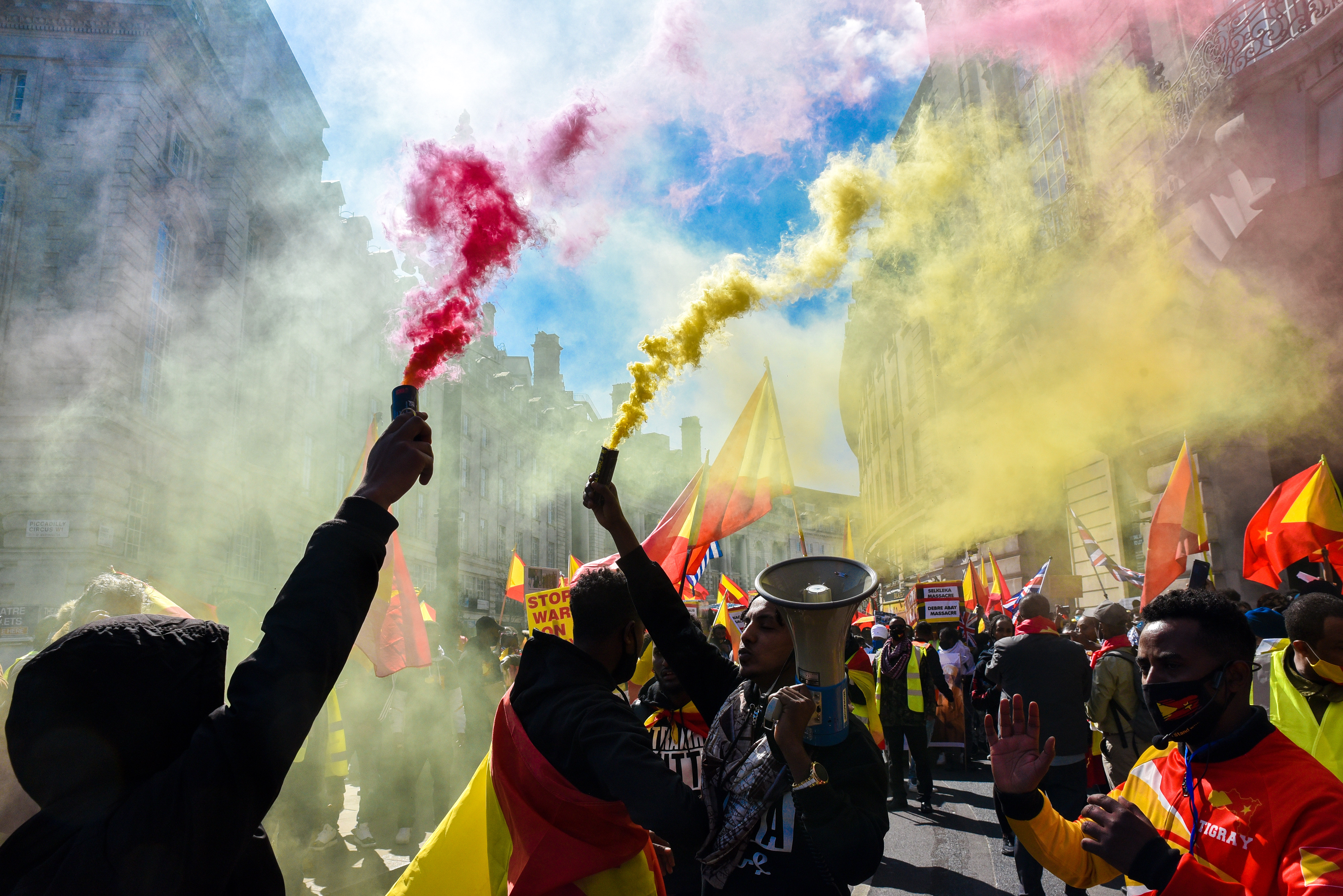 LONDON, UNITED KINGDOM - APRIL 25, 2021 - People protest and march for Tigray in central London. (Photo credit should read Matthew Chattle/Barcroft Media via Getty Images)